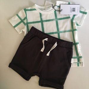 NWT Miles Baby Green Check T-shirt and Shorts Set